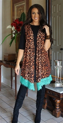 PLUS Leopard Sleeveless Vest Cardigan