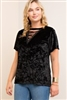 Black Velvet V-Neck in Regular & PLUS Sizes