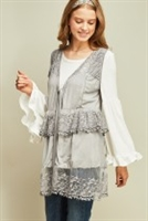 Floral Lace Cardigan in Grey