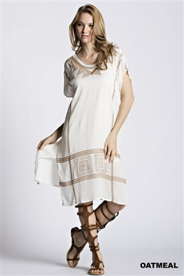 Embroidered Dress in Oatmeal