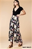 Floral Wide Leg Pants in Navy