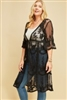 PLUS Embroidered Kimono in Black