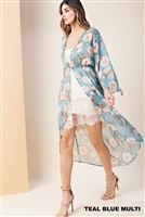 Floral Kimono with Button in Teal