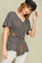 Embroidered Gingham Top in Black