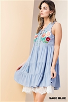 Embroidered Dress in Sage Blue