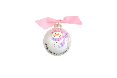 Pink Snowperson Christmas Ornament
