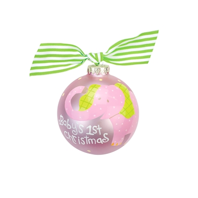 Pink Elephant First Christmas Ornament