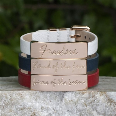 SALE Rustic Cuff 4th of July-Betsy Trio in Gold, Rose, or Silver