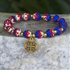 Rustic Cuff 4th of July-FIRECRACKER Kaleidoscope Red, White, and Blue in Gold or Silver