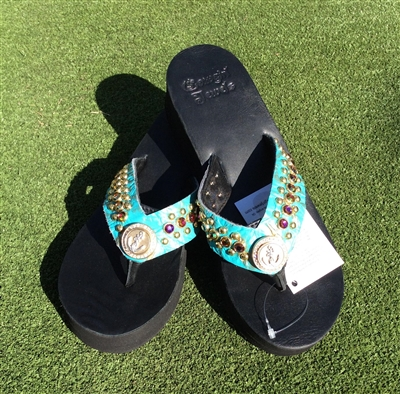 Custom Turquoise Hand-Made Leather Flip Flop with FREE Snap Button