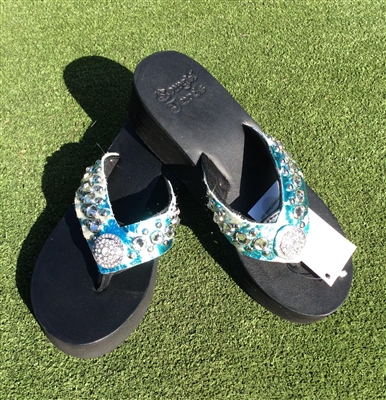 Custom Turquoise Cow Hide Hand-Made Leather Flip Flop with FREE Snap Button
