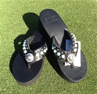 Custom Black Hand-Made Leather Flip Flop with FREE Snap Button