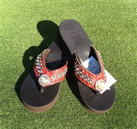 Custom Crimson Hand-Made Leather Flip Flop with FREE Snap Button