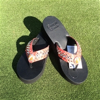 Custom Red Hand-Made Leather Flip Flop with FREE Snap Button
