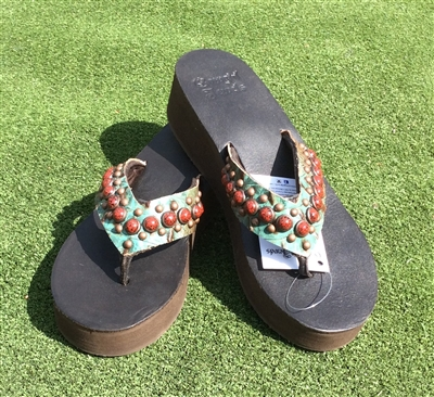 "Custom ""Lava"" Hand-Made Leather Flip Flop"