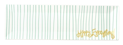 "Mint Stripe Happy Everything 18"" Tray"