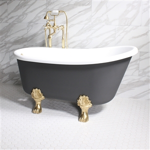 "'COSIMO58' 58"" WHITE CoreAcryl Acrylic Swedish Slipper Clawfoot Tub Package with Iron Effect Exterior"