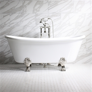"'FEDERIGO59' 59"" WHITE CoreAcryl Acrylic French Bateau Clawfoot Tub Package"