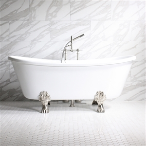 "'FEDERIGO73' 73"" WHITE CoreAcryl Acrylic French Bateau Clawfoot Tub Package"