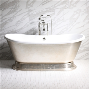 "'GIANETTA59' 59"" CoreAcryl WHITE Acrylic French Bateau Pedestal Tub Package with Aged Silver Leaf Exterior"