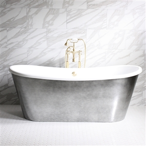 "'GINEVRA67' 67"" CoreAcryl WHITE French Bateau acrylic skirted tub and faucet package with Aged Chrome exterior"