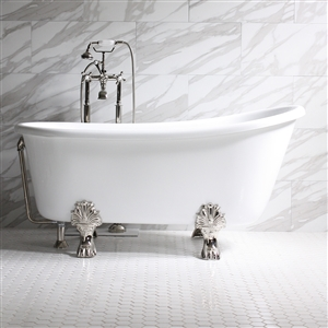 "'GRITTI54' 54"" WHITE CoreAcryl Acrylic Swedish Slipper Clawfoot Tub Package"