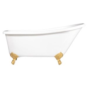 "'LUCHINO59' 59"" CoreAcryl WHITE Acrylic Extra Wide Single Slipper Clawfoot Tub Package"