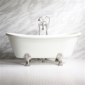 "'Properzia59' 59"" Biscuit CoreAcryl Acrylic French Bateau Clawfoot Tub Package"