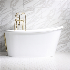"'SALVAZA58' 58"" CoreAcryl White Acrylic Swedish Slipper Tub with a White Acrylic Skirt and Fittings in Customer Choice of Color"