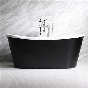 "'SORRENTINO67'  67"" WHITE CoreAcryl Acrylic French Bateau Tub with Eggshell Black Exterior and Faucet Package"