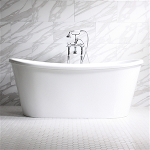 "'Verona67'  67"" WHITE CoreAcryl French Bateau Acrylic Skirted Tub with Fittings in Choice of Color"