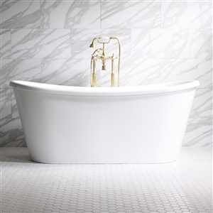 "'Verona73' 73"" WHITE CoreAcryl French Bateau Acrylic Skirted Tub with Fittings in Choice of Color"