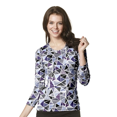 Long Sleeve Silky All-Over Print Tee in Looking Glass Tee by WonderWink