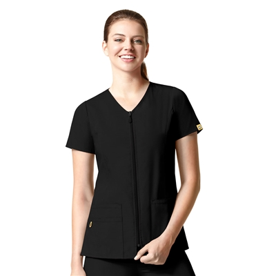 Kilo Lady Fit Zip Front Short Sleeve Jacket by WonderWink