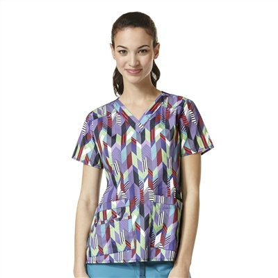 WonderWink Verity Print Top in Fall Semester