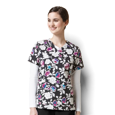 WonderWink Verity Print Top in Petal Pizzazz