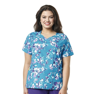 WonderWink PLUS Printed Mock Wrap Top in Pinpoint Posey