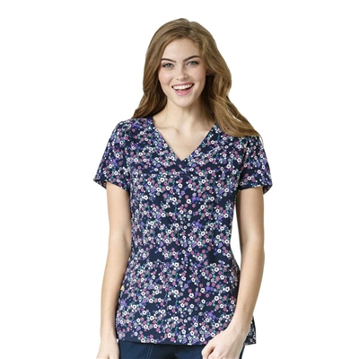 WonderWink Printed Y-Neck Multi Pocket Top in Wild Flowers