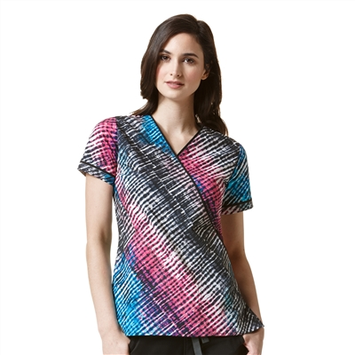 WonderWink Patience Print Top in Dye-Agonal