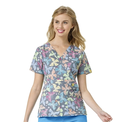 WonderWink Peek-a-Boo Pocket Print Top in Dreamscape