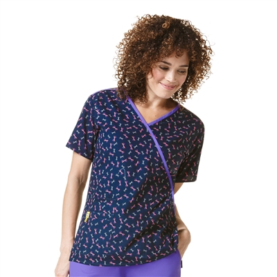 WonderWink Printed Mock Wrap Top in Pick Up Sticks