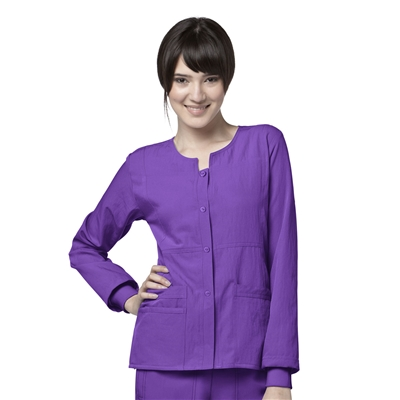 WonderWink Four-Stretch Sporty Button Front Jacket by WonderWink
