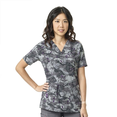 Carhartt Women's V-Neck Print Top in Camo Sketch