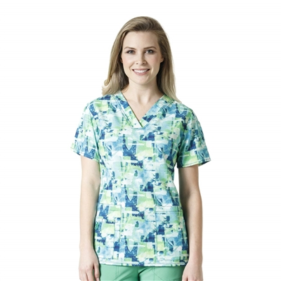 Carhartt Women's V-Neck Print Top in Coastal Reef
