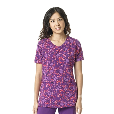 Carhartt Women's Y-Neck Fashion Print Top in Floral Field Violet