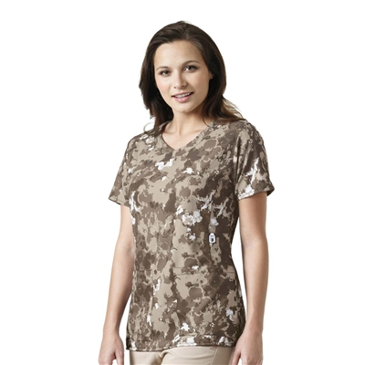 Carhartt Women's Y-Neck Fashion Print Top in Natural Form