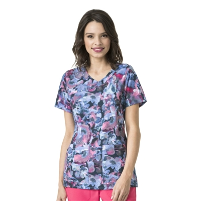 Carhartt Women's Y-Neck Fashion Print Top in Southern Belle Navy