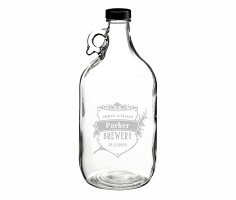 Clear Glass Growler Personalized Crest Keepsake Gift