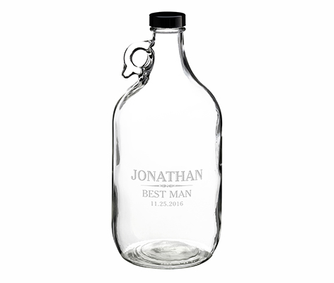 Clear Glass Growler Personalized Keepsake Gift