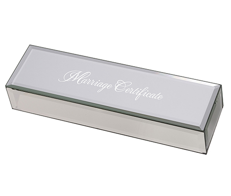 Silver Mirrored Marriage Certificate Box